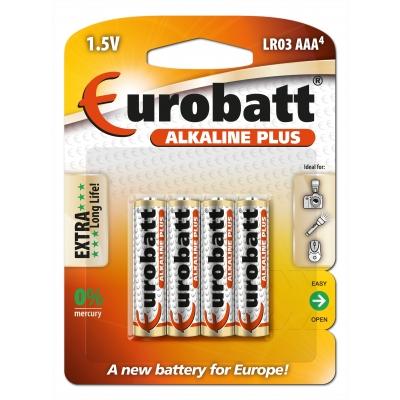Alkaline Plus tužkové baterie AAA( LR6) 1,5V 4ks Eurobatt
