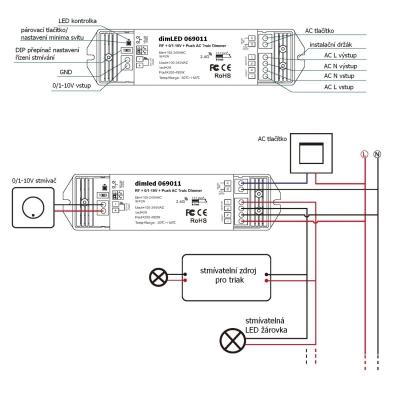 dimLED stmívač TRIAK PR 10V480W scháma zapojení