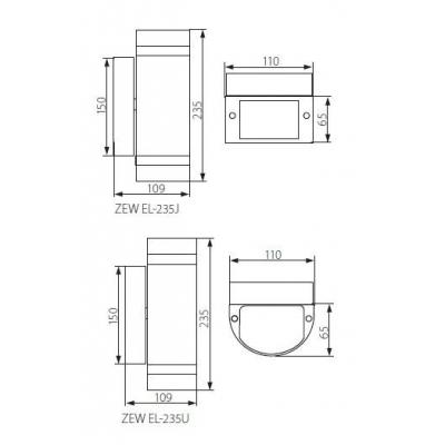Venkovní přisazené svítidlo s vyšším krytím ZEW EL-235U-BR