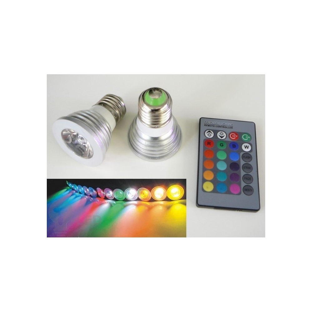 RGB LED žárovka E27 3W + ovládač