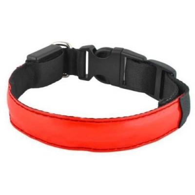 Svítící LED obojek pro psy/pásek pro chodce - červený