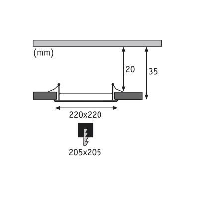 LED svítidlo podhledové stříbrné IP44 18W čtverec denní bílá