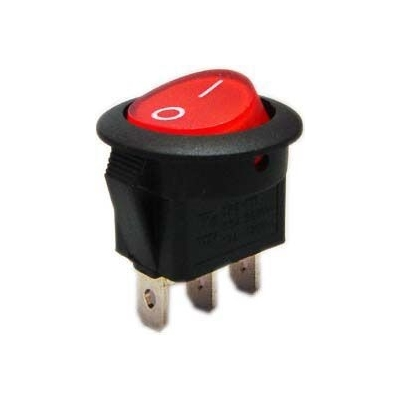 Vypínač kolébkový 250V 6A červený s doutnavkou