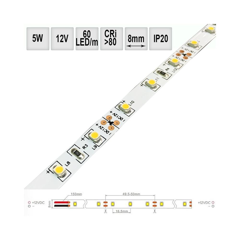 LED pásek 5W/m 12V CRI80 IP20