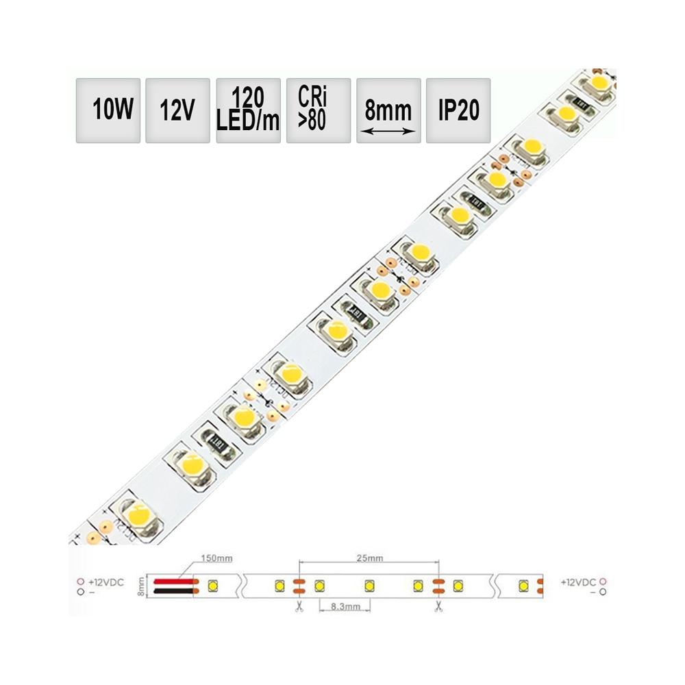 LED pásek 10W/m 12V CRI80 IP20