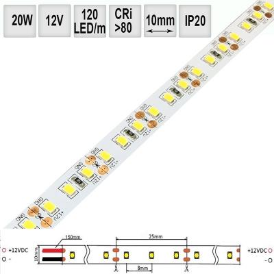 LED pásek 20W/m 12V CRI 80 IP20