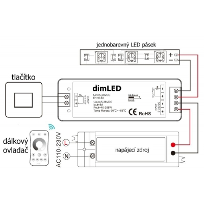 DIMled přijímací jednotka jednokanálová 1x8A