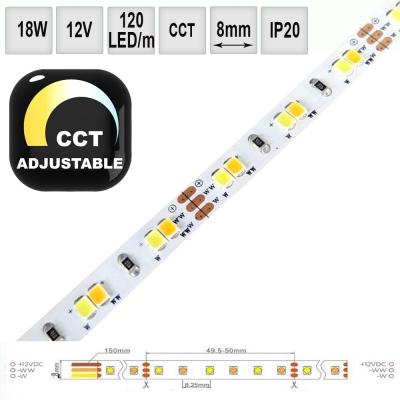 LED pásek CCT 18W/m 12V CRI80 IP20