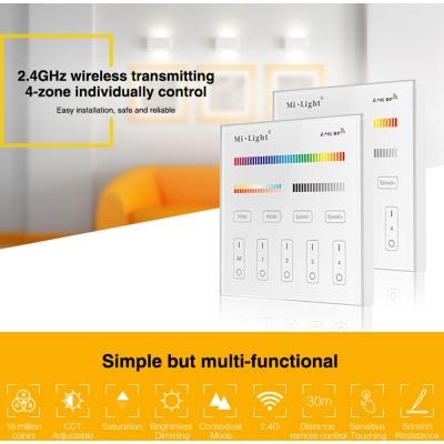 Mi-Light RGB+CCT nástěnný ovladač 4 zóny 230V