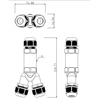 Vodotěsná spojka IP68-2pólová-Y 24A