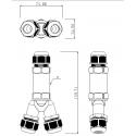 Vodotěsná spojka IP68-3pólová-Y 24A