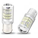 LED auto žárovka BAY15D SMD 48W dvouvláknová červená