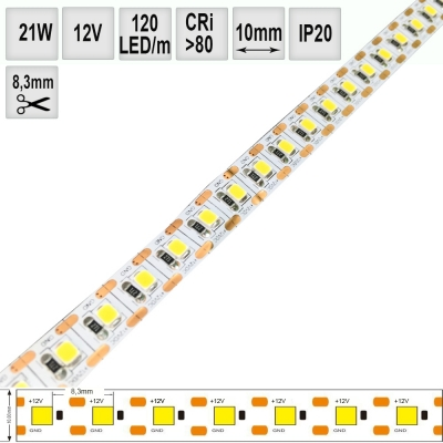 LED pásek 21W 12V CRI80 IP20 mini segment 8,3mm