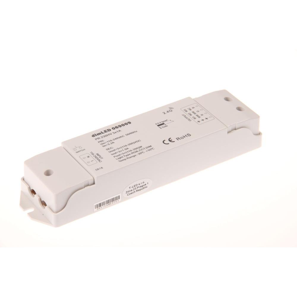 dimLED přijímací jednotka, stmívač pro 230V LED pásky
