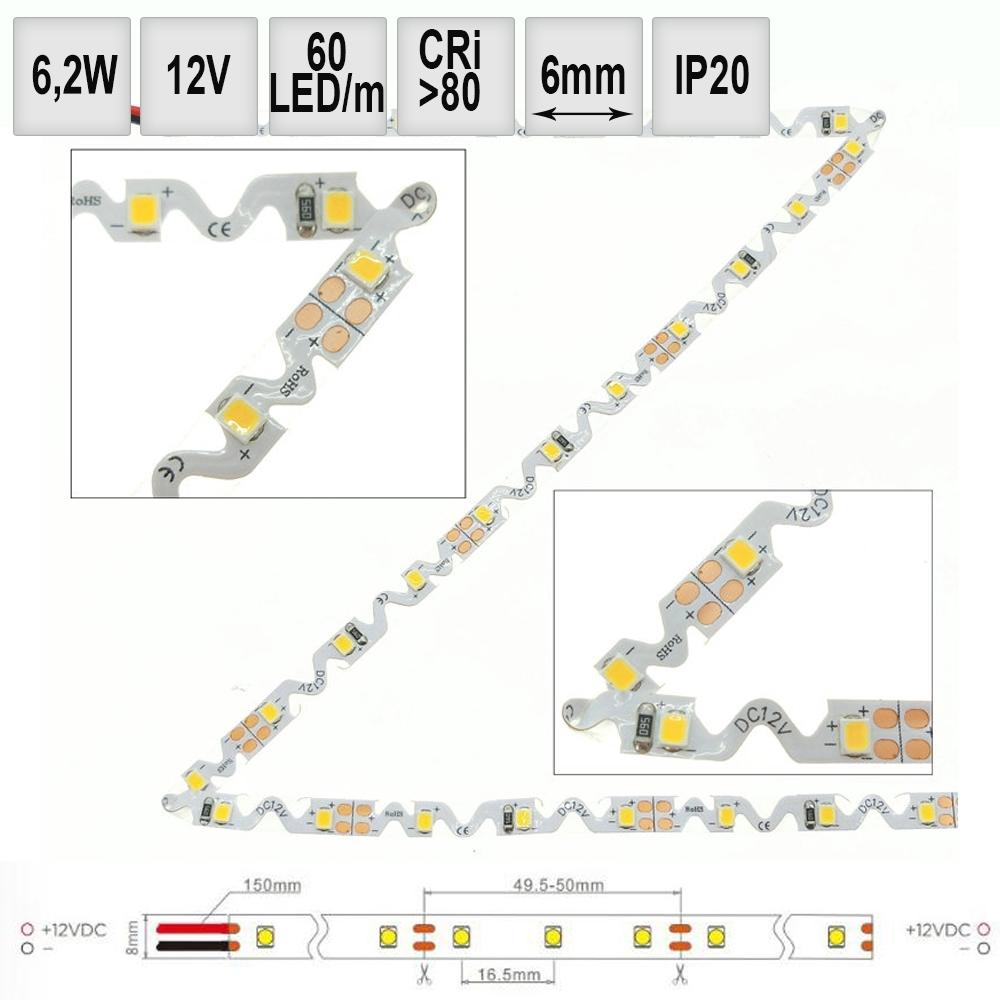 LED pásek ohebný 6,2W/m 12V Sanan IP20