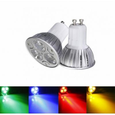 LED žárovka GU10 3W barevná