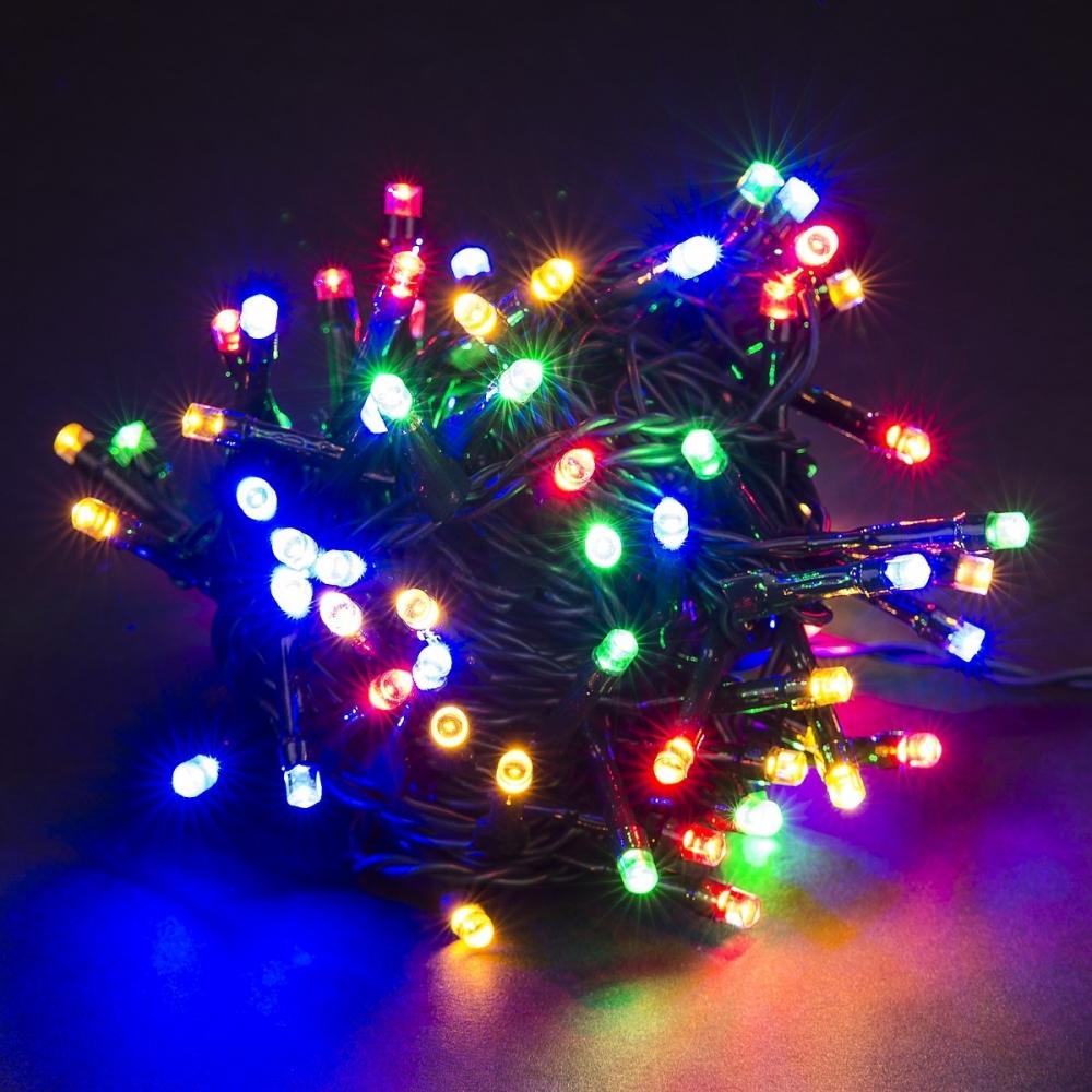 Vánoční LED barevný řetěz 100 LED 10m