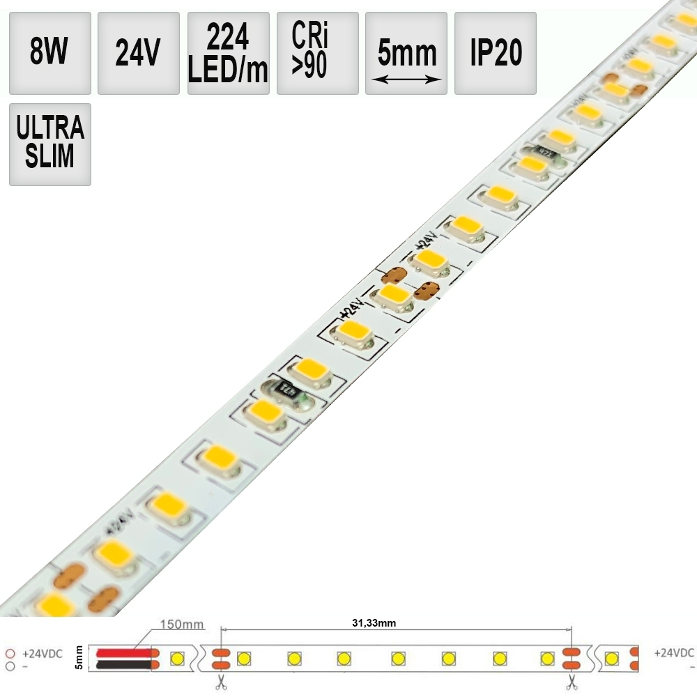 LED pásek SLIM 8W/m 24V CRI90 IP20 224LED, 5mm