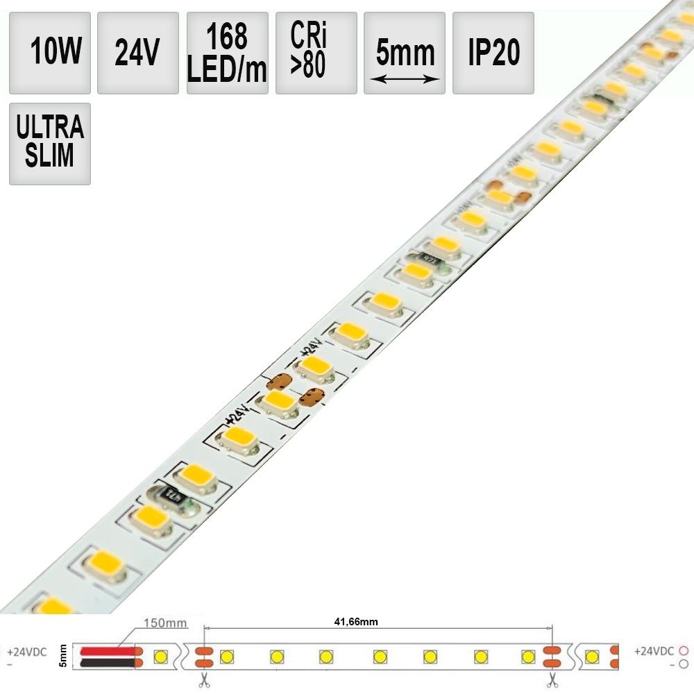 LED pásek SLIM 10W/m 24V CRI80 IP20 168LED, 5mm