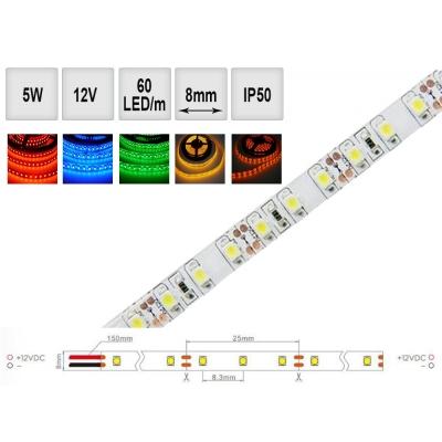 Barevný LED pásek 5W/m 12V IP50