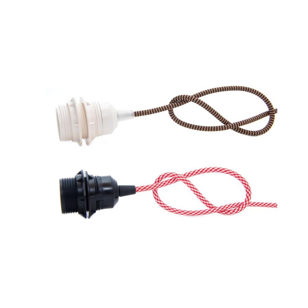 Objímka E27 plastová bílá nebo černá + 2x kroužek s textilním kabelem dle výběru