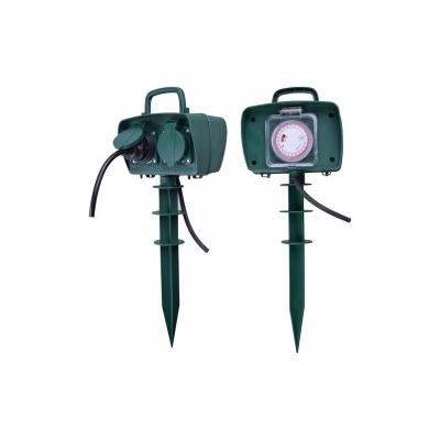 Zemní adaptér 2xSchuko s časovačem 230V 2x16A IP44