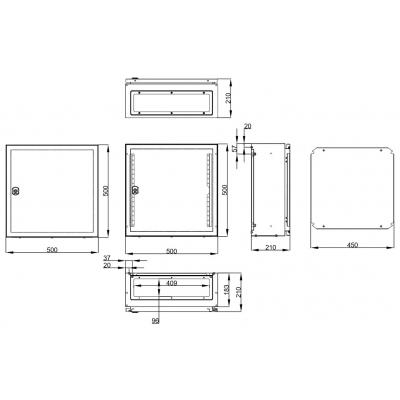 Rozvaděč WST IP65 500x500x210mm, 1křídlé dveře, včetně MD