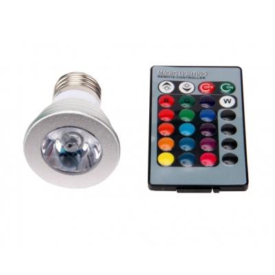 RGB LED žárovka E27 3W 60°+ ovládač